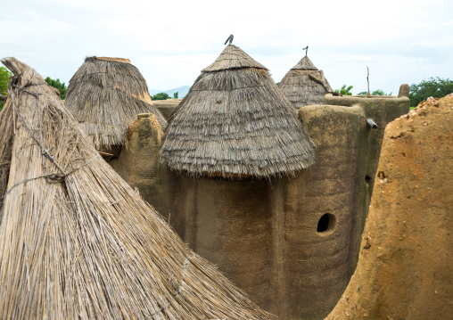 Benin, West Africa, Boukoumbé, traditional tata somba houses with thatched roofs and granaries