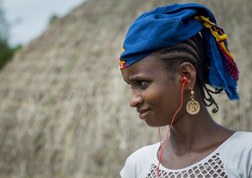 Benin, West Africa, Gossoue, a beautiful fulani peul tribe woman portrait
