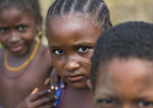 Benin, West Africa, Gossoue, fulani peul tribe little girls