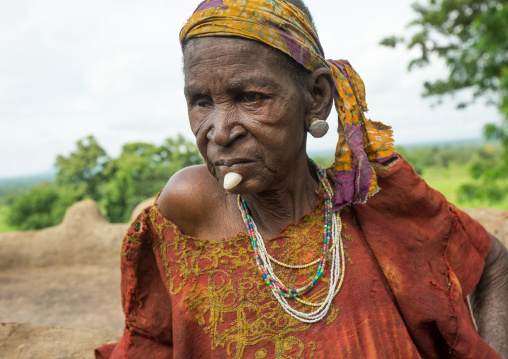 Togo, West Africa, Nadoba, tamberma somba tribe woman with a stone in the chin as decoration