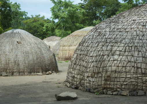Benin, West Africa, Gossoue, traditional peul houses made of dried leaves