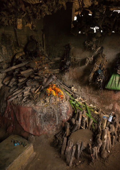 Benin, West Africa, Bopa, wood sticks used to ask favors to the spirits in a voodoo shrine