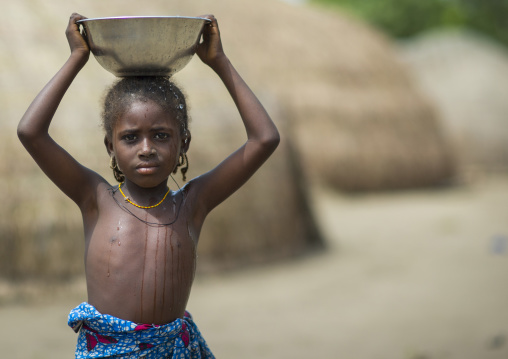 Benin, West Africa, Gossoue, fulani peul tribe little girl with a bucket of water on her head