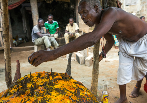 Benin, West Africa, Bopa, dah tofa voodoo master making oil offerings to his fetish