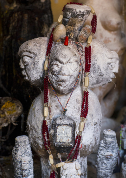 Benin, West Africa, Bonhicon, statues covered with talc powder for a voodoo ceremony