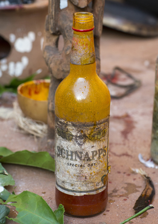 Benin, West Africa, Bonhicon, schnapps bottle used during a voodoo ceremony