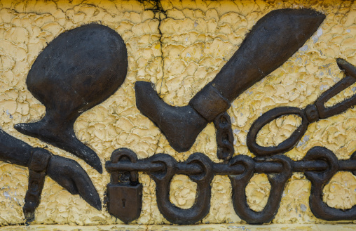 Benin, West Africa, Ouidah, the memorial zomachi on the slave trail showing chains