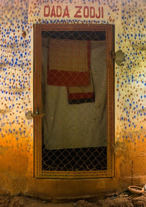 Benin, West Africa, Ouidah, dada zodji temple door in the sacred forest of kpasse