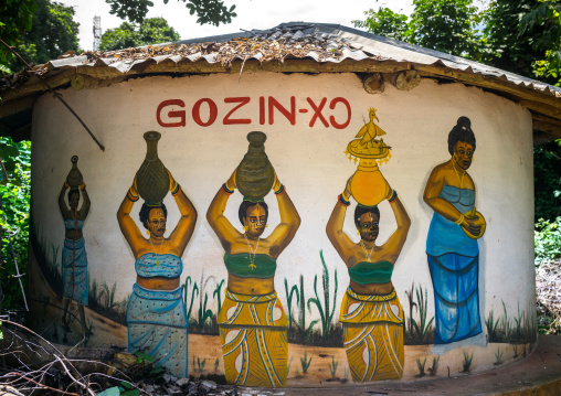 Benin, West Africa, Ouidah, temple in the sacred forest of kpasse painted walls