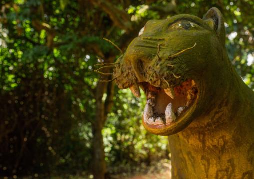 Benin, West Africa, Ouidah, leopard figure in kpasse sacred forest