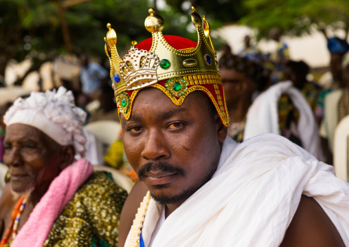 Benin, West Africa, Ouidah, beninese traditional king with a plastic crown