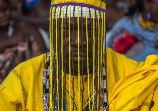 Benin, West Africa, Ouidah, dada vognon adidékon famous healer with a mask hiding his face