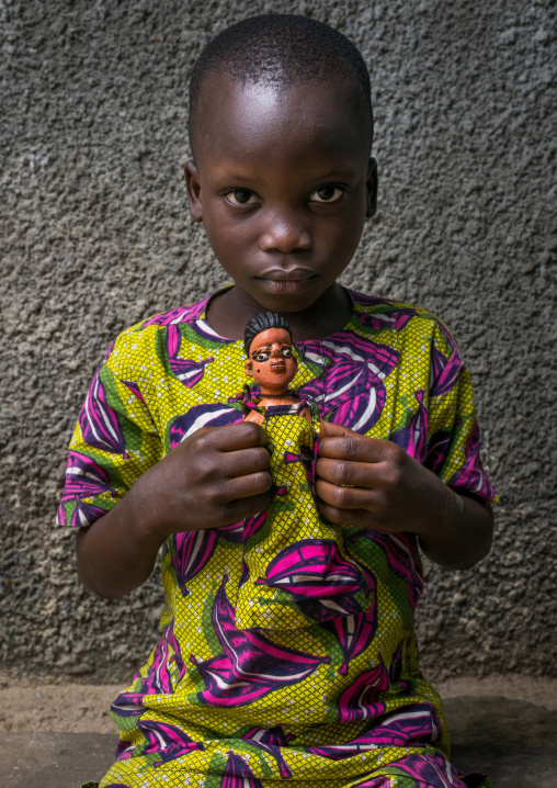 Benin, West Africa, Ouidah, edouard takes cares of the carved wooden figure made to house the soul of his dead sister paterna