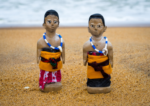 Benin, West Africa, Ouidah, carved wooden figures made to house the soul of dead twins