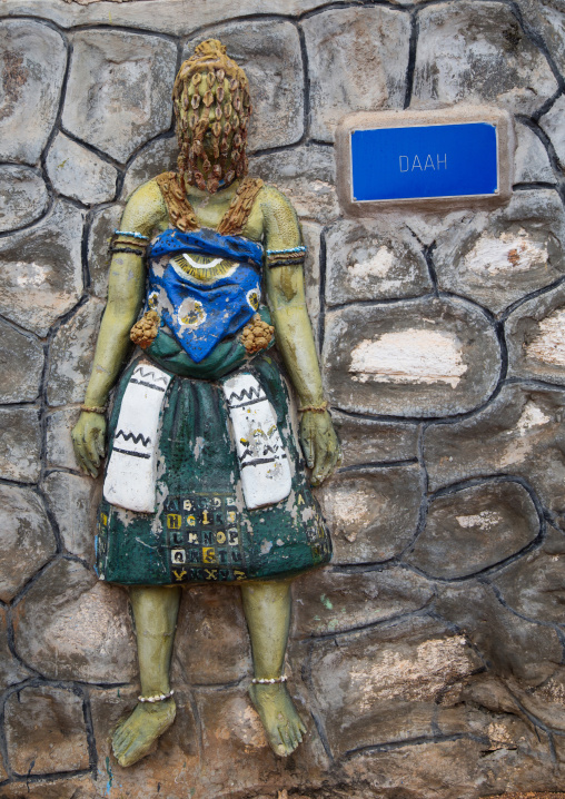 Benin, West Africa, Savalou, statue on sakpata king palace wall