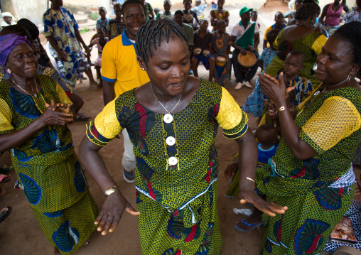 Benin, West Africa, Savalou, women dancing for a celebration