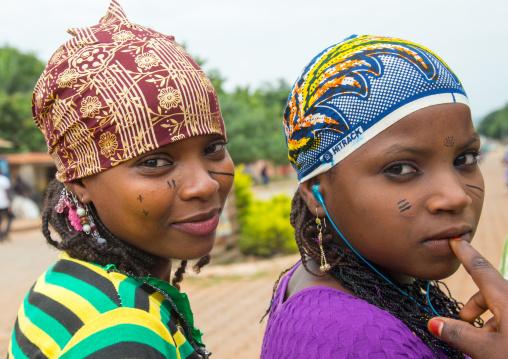 Benin, West Africa, Savalou, beautiful tattooed fulani peul tribe teenagers