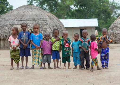 Benin, West Africa, Savalou, fulani peul tribe children in a village