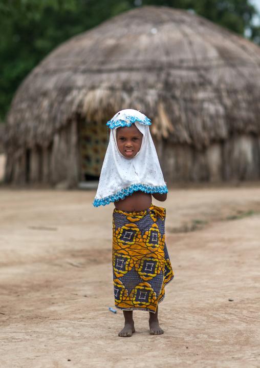 Benin, West Africa, Savalou, fulani peul tribe little girl with a muslim veil