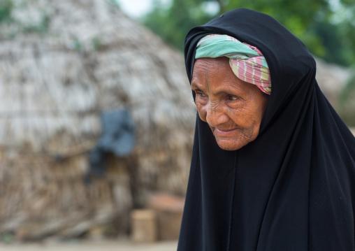 Benin, West Africa, Savalou, an old tattooed fulani peul tribe woman