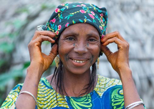 Benin, West Africa, Savalou, a beautiful tattooed fulani peul tribe woman portrait