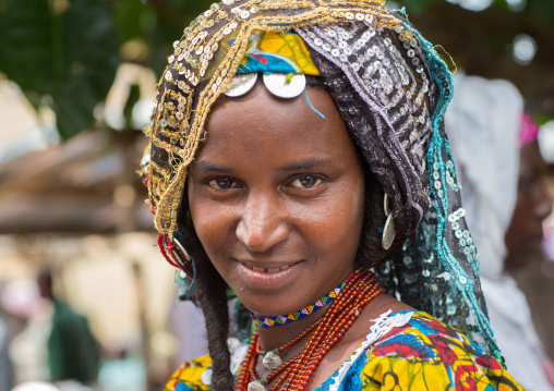Benin, West Africa, Savalou, a beautiful fulani peul tribe woman portrait