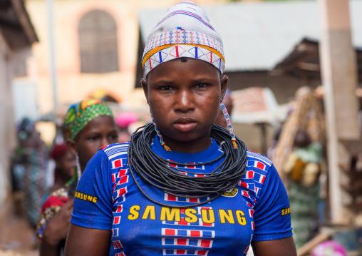 Benin, West Africa, Copargo, a beautiful tattooed fulani peul tribe woman