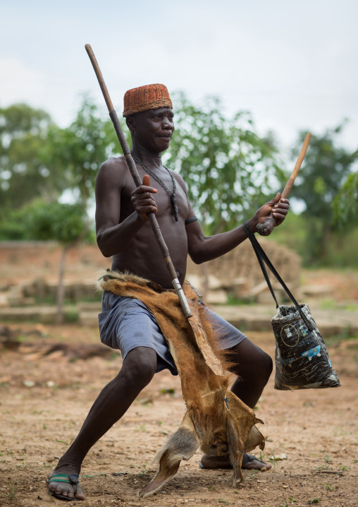 Benin, West Africa, Taneka-Koko, traditional healer dancing during a ceremony