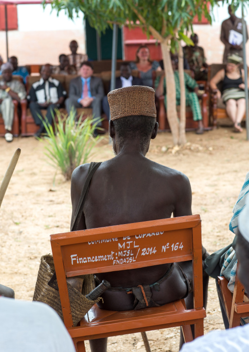 Benin, West Africa, Taneka-Koko, traditional healers with american cultural representative for the opening ceremony of a local museum
