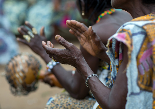 Benin, West Africa, Bopa, women with shakers during a voodoo ceremony