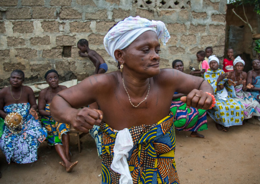 Benin, West Africa, Bopa, woman dancing during a traditional voodoo ceremony