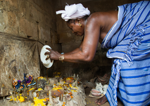 Benin, West Africa, Bopa, miss hounyoga in the deity dan temple for the voodoo dead twins cult