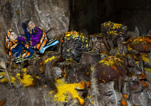 Benin, West Africa, Bopa, twins statues in the deity dan temple