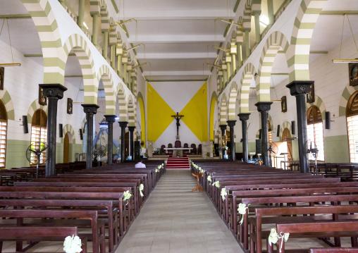 Benin, West Africa, Cotonou, inside notre dame roman catholic cathedral