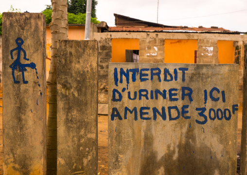 Benin, West Africa, Porto-Novo, no urinating sign in french on a wall