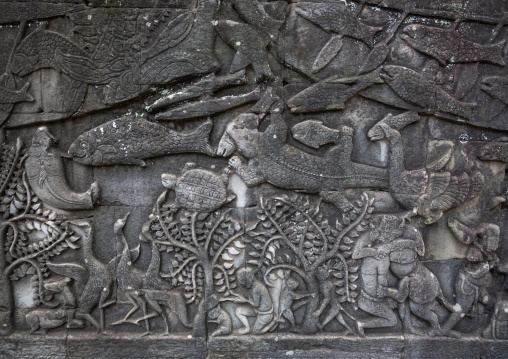 Fishes on the bas-relief on the walls of Angkor wat, Siem Reap Province, Angkor, Cambodia