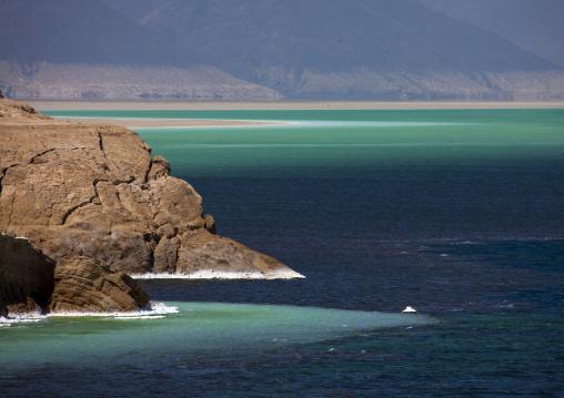 Lake Assal Crater Lake With Its Salt Pans, Afar Depression, Djibouti