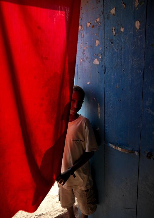 Kid Entering The Cine Club, Tadjourah, Djibouti