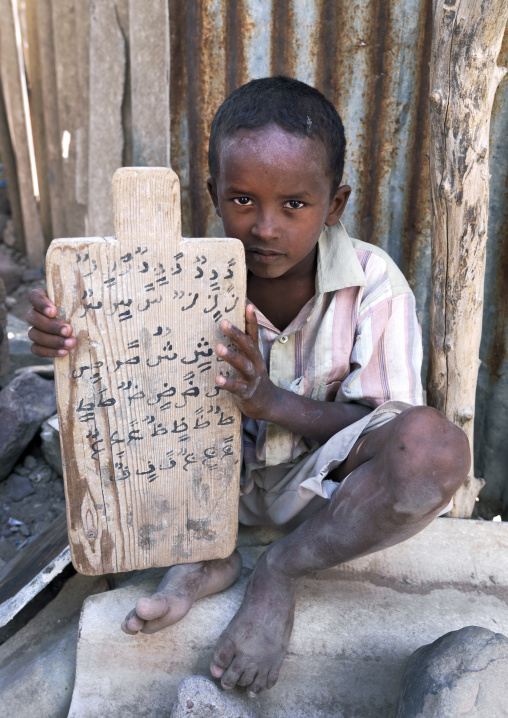 Young Boy With A Wooden Plate In A Coranic School, Tadjourah, Djibouti