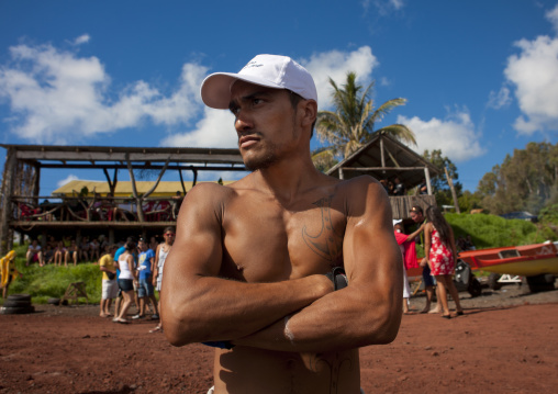 Tattooed Man Ready For Canoe Competition, Easter Island, Chile