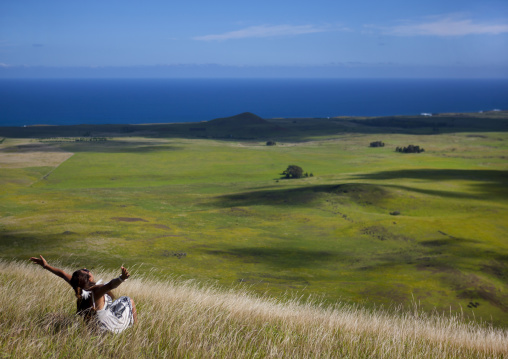 Woman At The Top Of A Hill, Easter Island, Chile