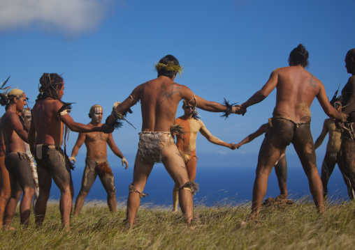 Haka Pei, Before The Banana Competition During Tapati Festival, Easter Island, Chile