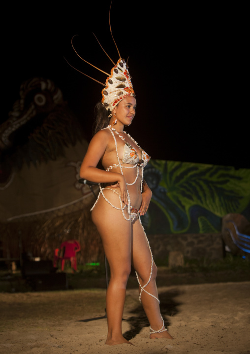 Celine Bour During Tapati Festival, Easter Island, Chile