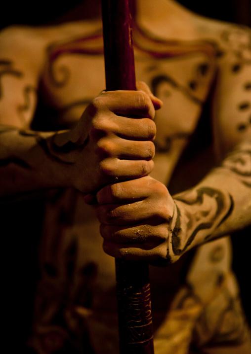 Takona Body Painting Competition During  Tapati Festival, , Hanga Roa,  Easter Island, Chile