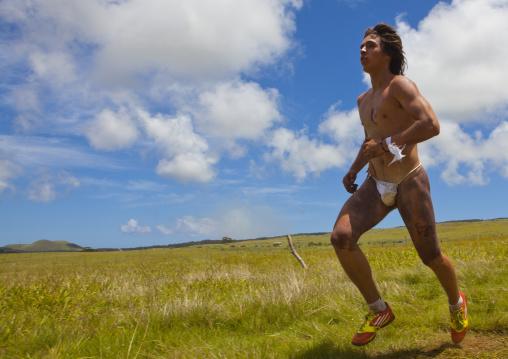 Tau' A Rapa Nui Race Competition During Tapati Festival, Easter Island, Chile