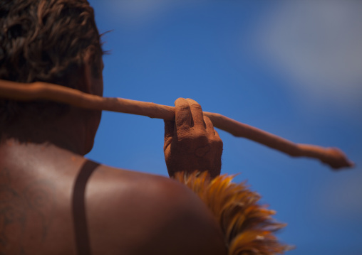 Back Of A Native Man During Spear Competition, Tapati Festival, Easter Island, Chile