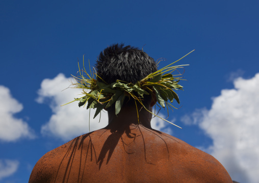 Man With Traditional Headdress In Tapati Festival, Easter Island, Chile
