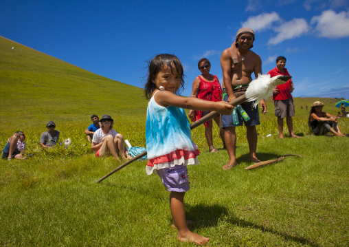 Kid During Spear Competition, Tapati Festival, Easter Island, Chile