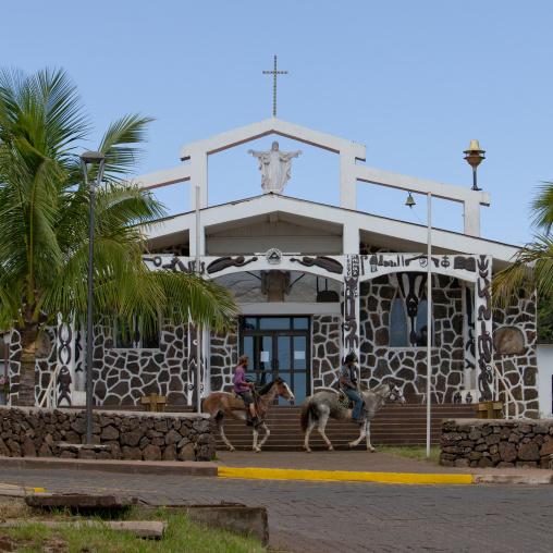 Catholic church In Hanga Roa, Easter Island, Chile