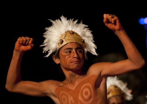 Dances During Tapati Festival In Hanga Roa, Easter Island, Chile
